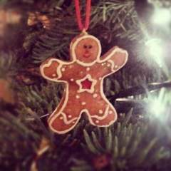A gingerbread man Christmas tree ornament